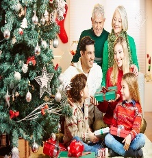 Happy Family With Three Generations Celebrating Christmas With.. Stock Photo, Picture And Royalty Free Image. Image 86265072.