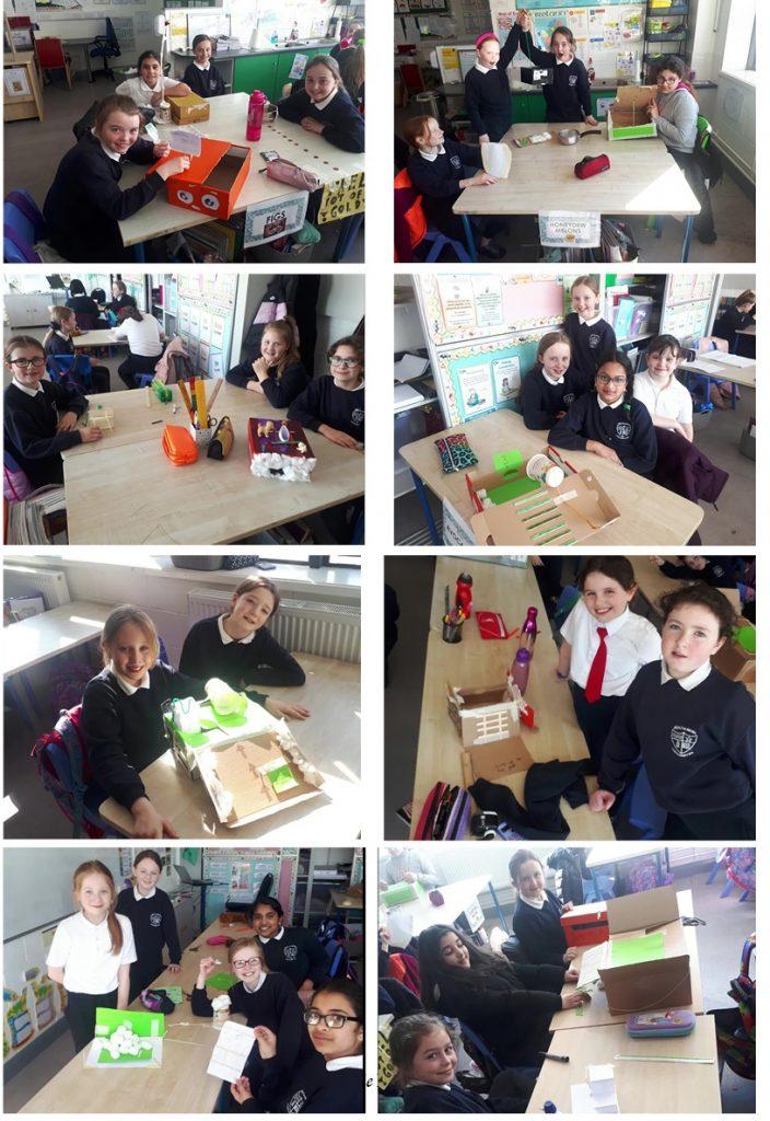 4th Class making Leprechaun Traps as part of STEM task