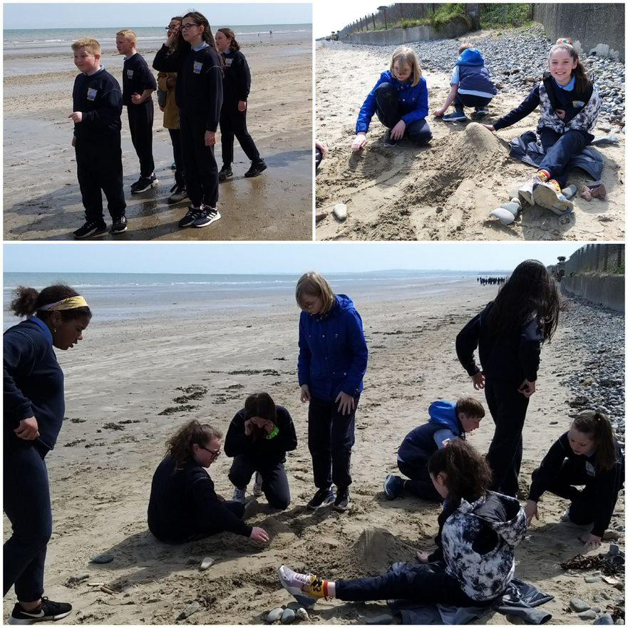 Ms Sheridan's class took to the beach