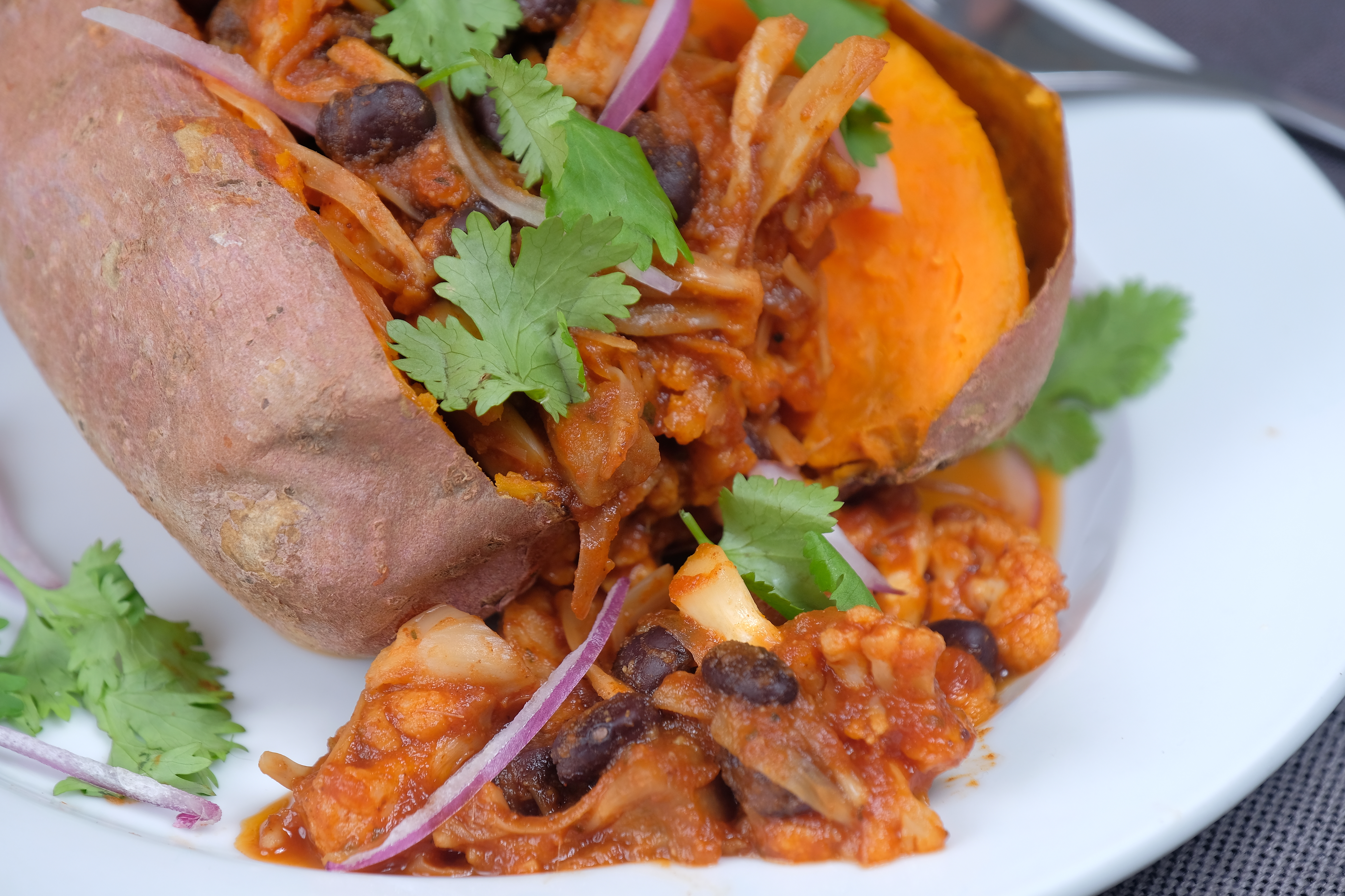 BBQ Jackfruit Stuffed Sweet Potato