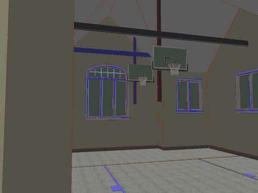 garage basketball court rendering