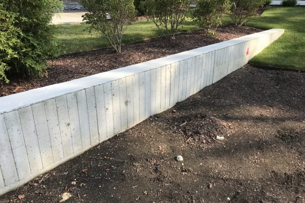 board formed concrete retaining wall