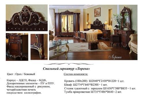 Спальный гарнитур Лорена фабрика РосМебель (СКФМ)