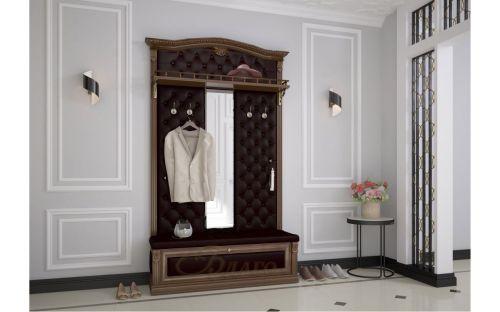 Вешалка с фигурным декором с обувницей на 4 крючка, зеркалом, полкой Б5.8-9 Орех/Коричневый