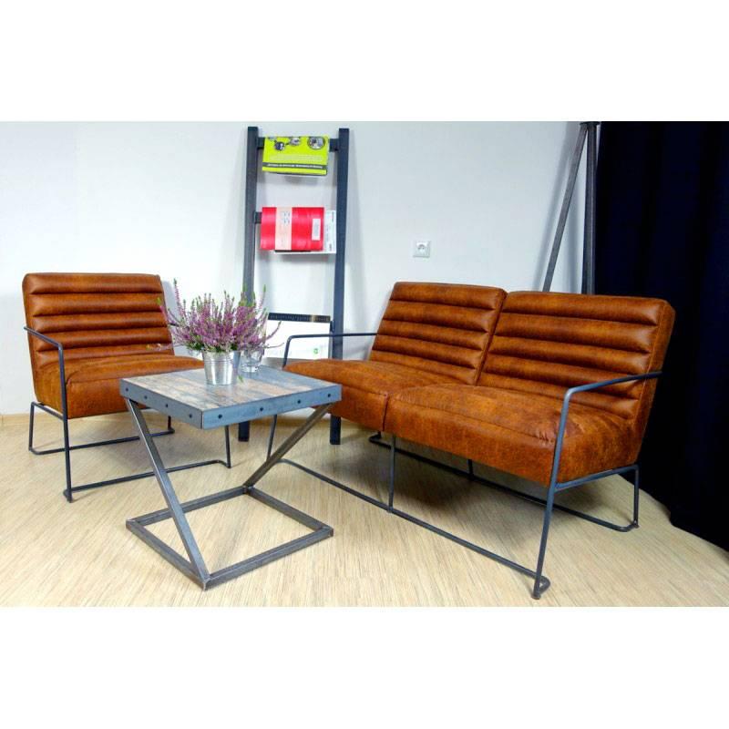 canape 2 places en cuir de style industriel et vintage roger ii
