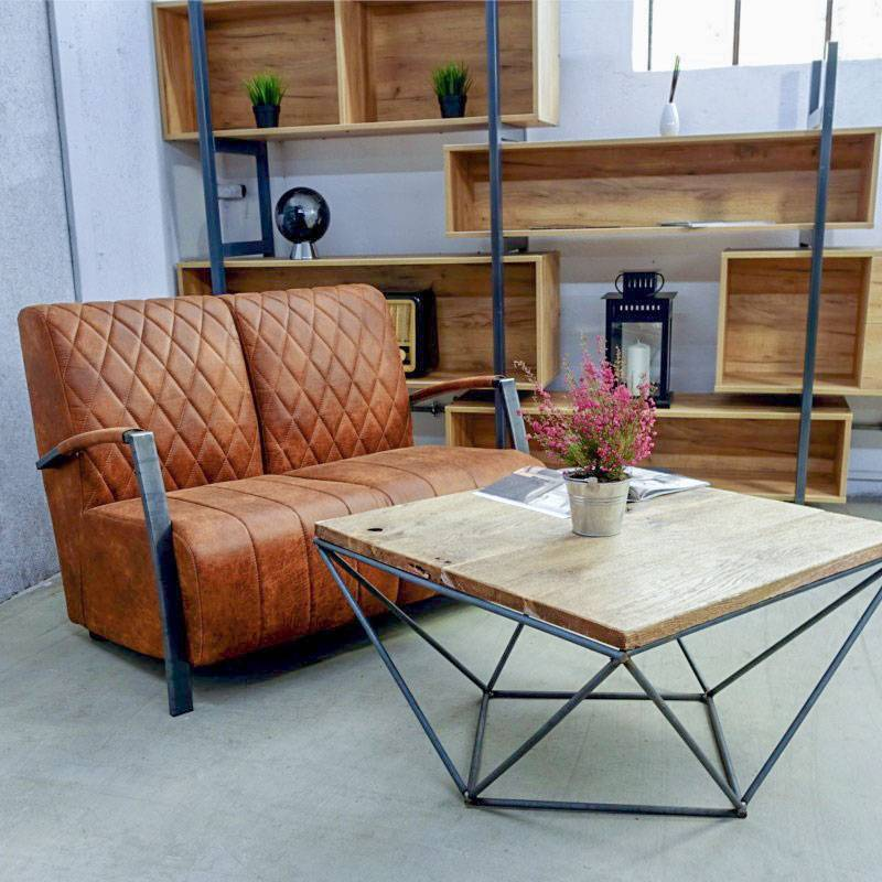 canape 2 places de style industriel et vintage manhattan ii