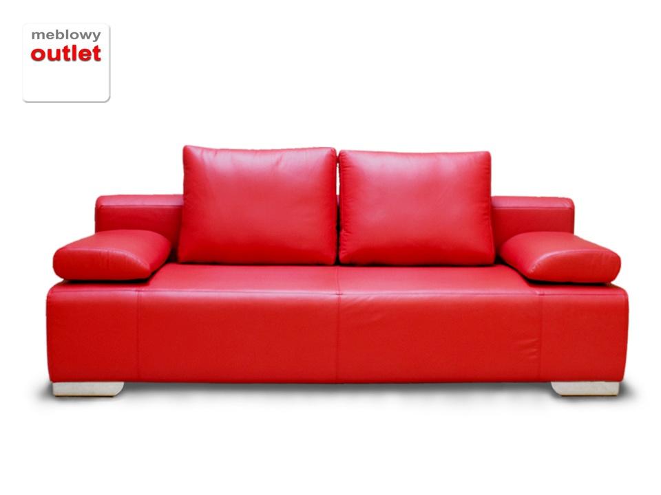 B Korfu Sofa Rozkładana Skórzana Czerwień