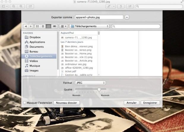 exporter jpg sous aperçu