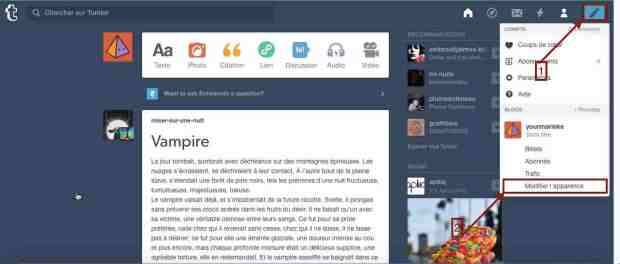 Le menu Profil