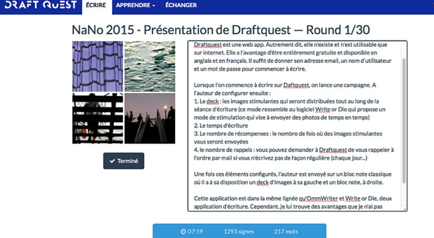 Draftquest une web app - article