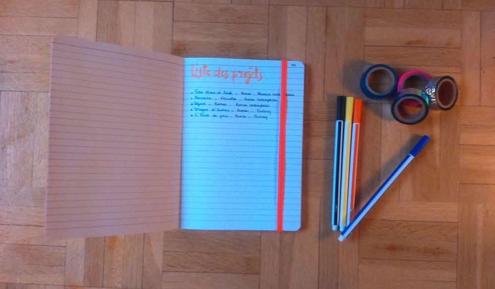 La liste des projets sur mon bullet journal d'écriture