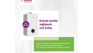 Bosch Condens 2200i W yoğuşmalı kombinin üstün özellikleri, tek sayfalık bilgilendirme dokümanında!