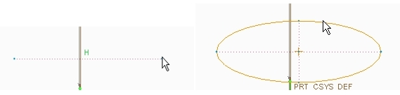 ends axis ellipse in creo elements pro