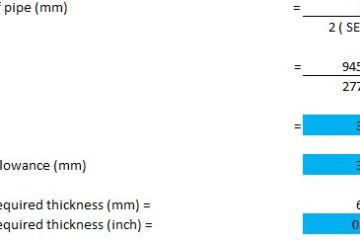 minimum required thickness as per ASME B31.3 -example