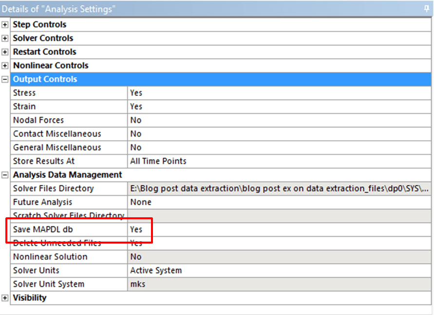 using a snippet to extract ansys workbench results to a