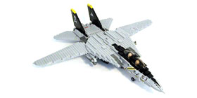 MECHANIZED BRICK Custom LEGO F 14 Tomcat Plane Kit F 14 front view with wings open