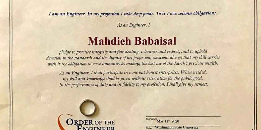 Mahdieh Babaiasl's Obligation of an Engineer and Engineer's ring