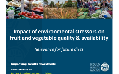 "Pauline Scheelbeek – ""Impact of environmental stressors on fruit and vegetable quality and availability"""