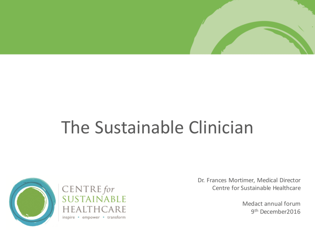 "Frances Mortimer – ""The Sustainable Clinician"""