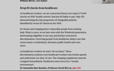 Over 150 Health Professionals Call For Scrapping Of Charges & ID Checks in NHS