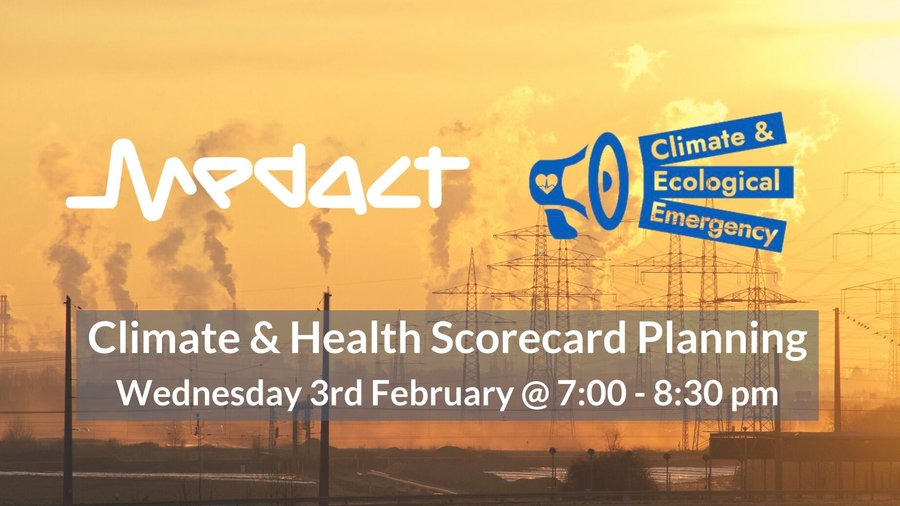 Climate Health Scorecard title image over image of fossil fuel power plant