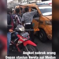 Angkot menabrak perempuan Medan