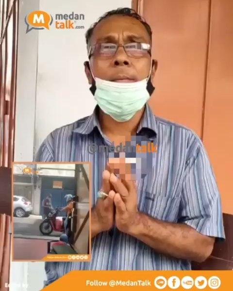 Pelaku pungli modus parkir di Jalan Andalas. No 2, Kelurahan Pasar Baru, Kecamatan Medan Kota, meminta maaf. . .