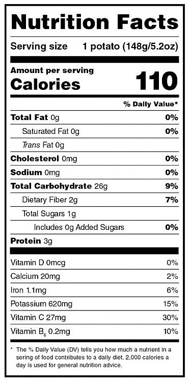 General nutrition label on any food item
