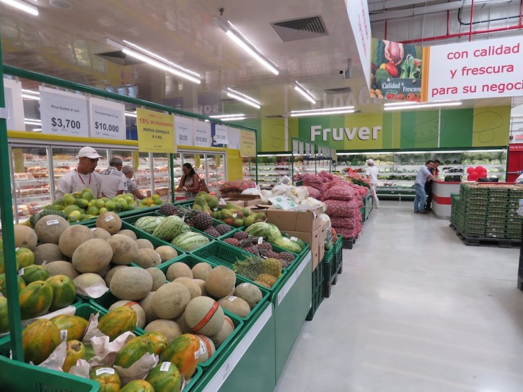 The fruits and vegitables section