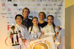 Laetitia, Quincy en Niké (Kung Fu Warriors) winnen Rising Stars 2017 (Foto: Ingrid Koning)