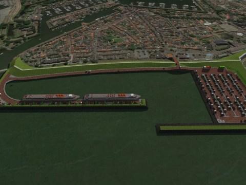 De cruiseschepen buitendijks laten aanmeren in de nieuwe haven van Medemblik