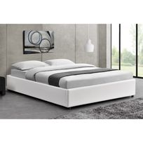 concept usine lit kennington structure de lit blanc avec coffre de rangement integre