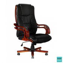 casasmart fauteuil de bureau vintage similicuir noir