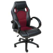 helloshop26 fauteuil de bureau chaise siege sport ergonomique confortable noir et bordeaux 0508011