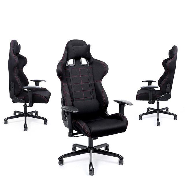 rocambolesk superbe chaise gamer fauteuil de bureau racing sport avec support lombaire et coussin noir