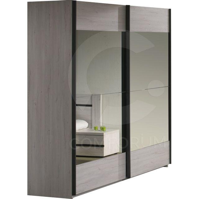 comforium armoire 220x216 cm a 2 portes coulissantes avec miroirs coloris chene mara