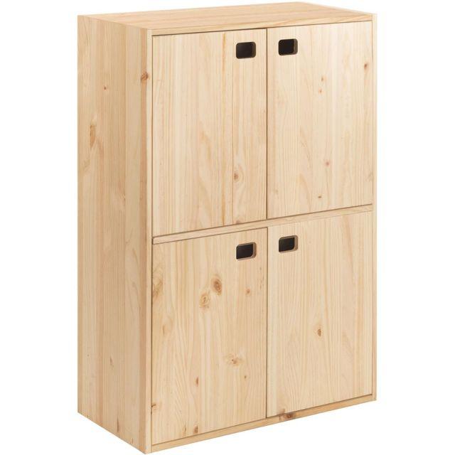 meuble de rangement en pin 4 portes dinamic
