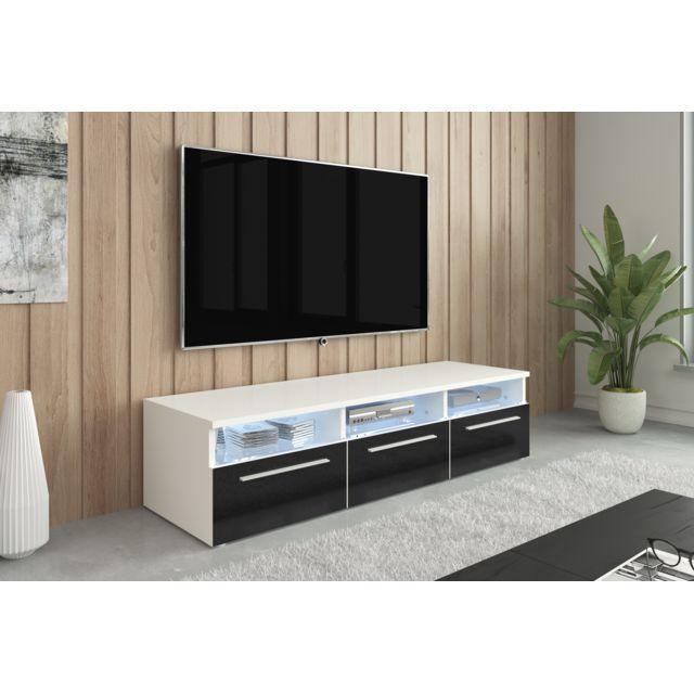 meuble tv design banc tv cuzco 150cm blanc noir