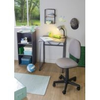 carrefour home table bureau gris metal mdf et pvc