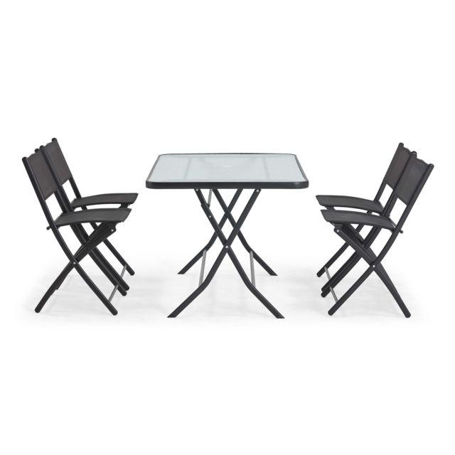 jardin et 4 chaises pliantes en acier
