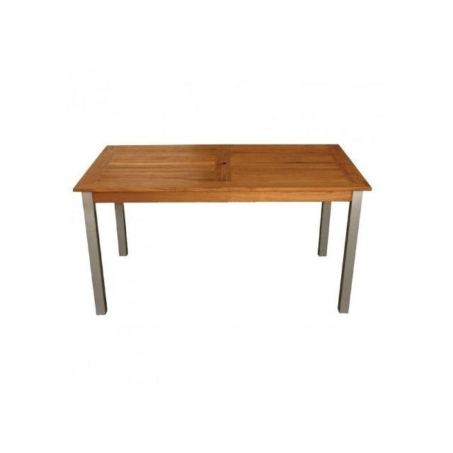 materiel chr pro table rectangulaire en bois et aluminium bolero 1400 mm bois clair