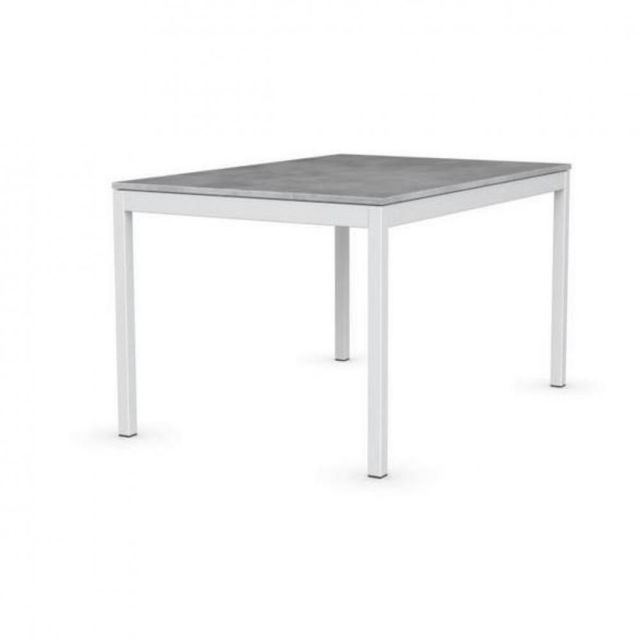 inside 75 table extensible snap gris beton pietement laque blanc 120x80 cm