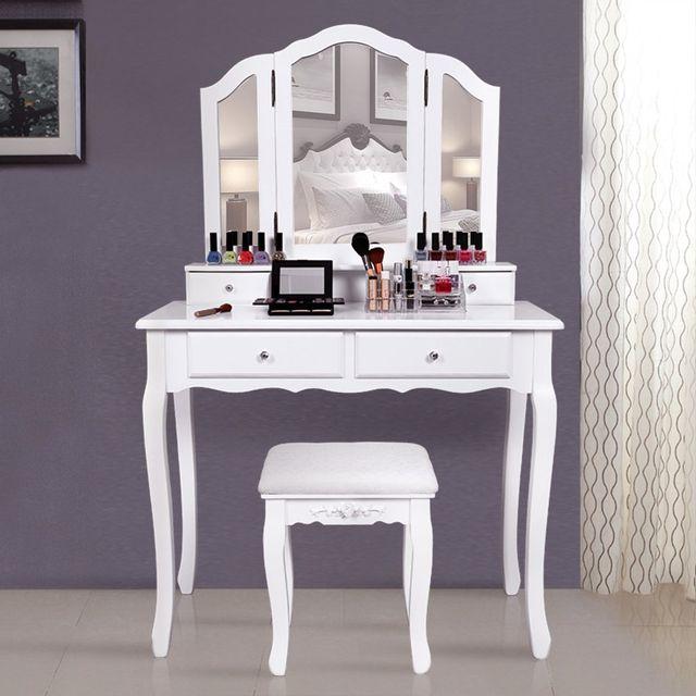 rocambolesk superbe grande coiffeuse table de maquillage style champetre avec 3 miroir 4 tiroirs