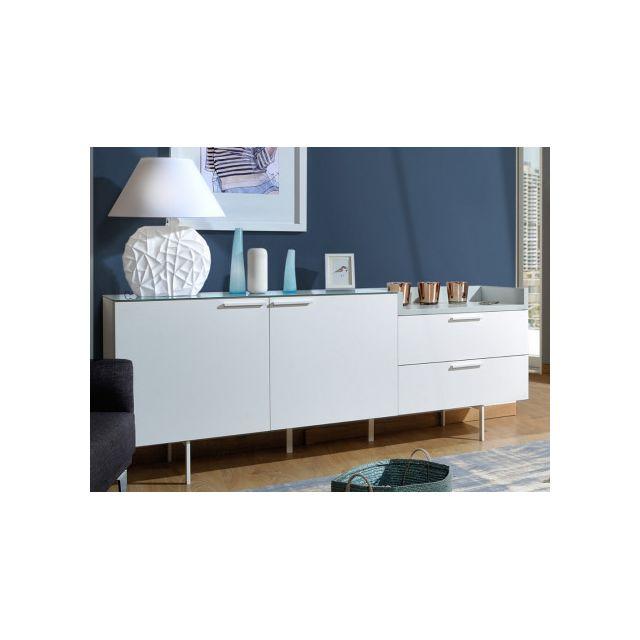 marque generique buffet angelo 2 portes 2 tiroirs avec plateau en verre