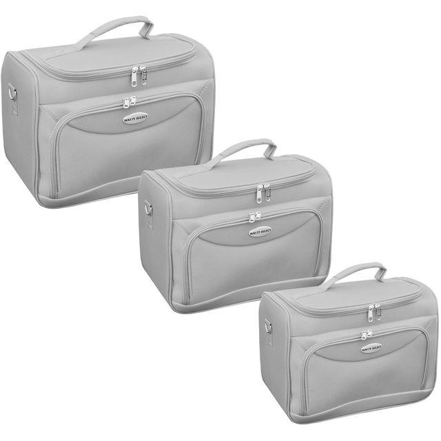 promobo ensemble lot 3 vanity professionnel malette avec miroir estheticienne pour maquillage cosmetique voyage gris