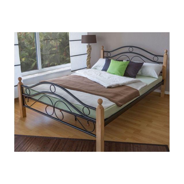 homestyle4u design metal lit double 140 x 200 cadre de lit lattes bois noir naturel