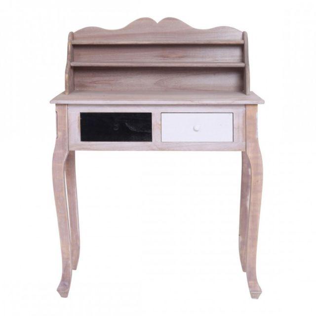 mobili rebecca table bureau console 2 tiroirs bois blanc noir vintage retro chambre salon