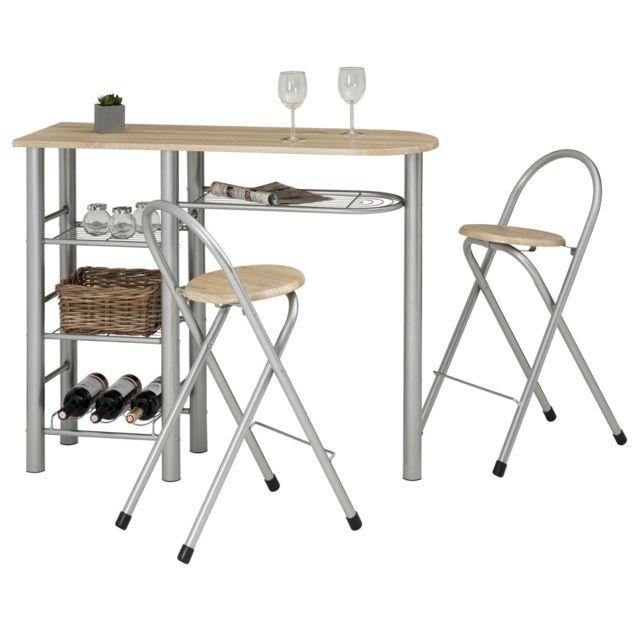 ensemble style avec table haute de bar mange debout comptoir et 2 chaises tabourets en mdf chene sonoma et structure en metal