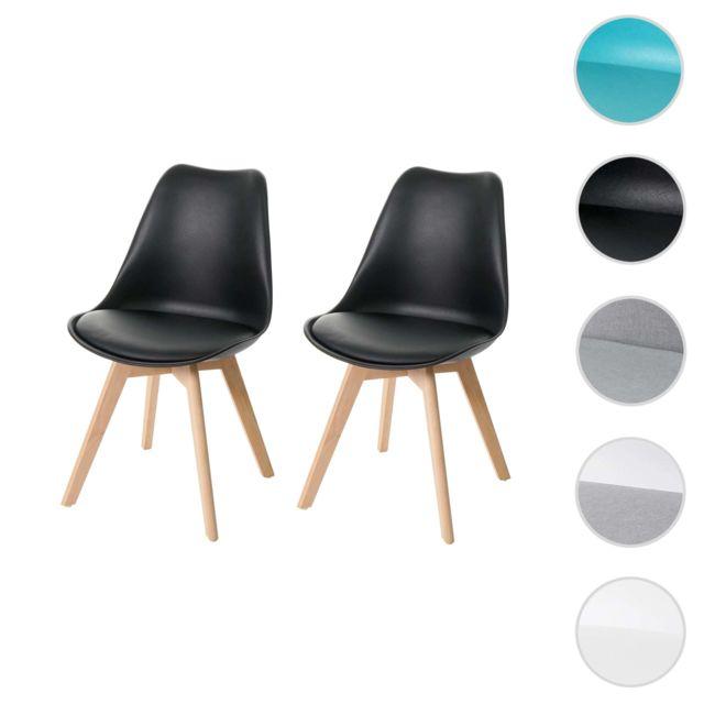 2x chaise de salle a manger hwc e53 chaise de cuisine design retro noir noir similicuir pieds clairs