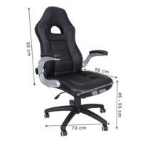 helloshop26 fauteuil de bureau chaise siege noir ergonomique classique 150 kg